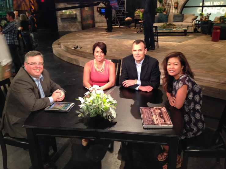From left: Shane Vander Hart, Kathleen Jasper, Kyle Olson and Michelle Malkin on the set of We Will Not Conform.