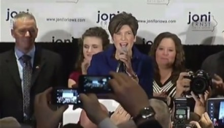 Ernst gives victory speech in Des Moines, IA