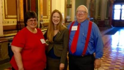 State Senator Amy Sinclair with Butch and Susie Gibbs of Humeston