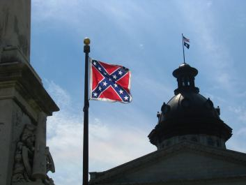 Confederate Flag flown in 2008 by a Confederate War Memorial on the South Carolina Statehouse grounds.Photo credit: Jason Lander(CC-By-2.0)