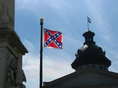 Confederate Flag flown in 2008 by a Confederate War Memorial on the South Carolina Statehouse grounds.Photo credit: Jason Lander (CC-By-2.0)