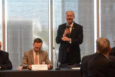 Arkansas Governor Asa Hutchinson speaks to his Advisory cCouncil on Medicaid Reform
