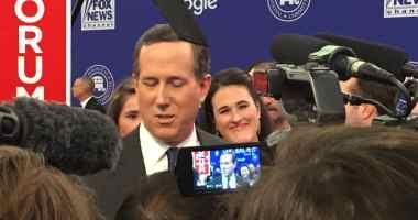 Rick Santorum and his daughter Elizabeth in the FNC/Google GOP Debate spin room.