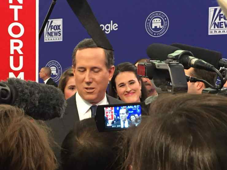 Rick Santorum and his daughter Elizabeth in the FNC/Google GOP Debate spin room.