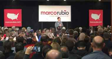 U.S. Senator Marco Rubio speaks to voters in Urbandale, IA.