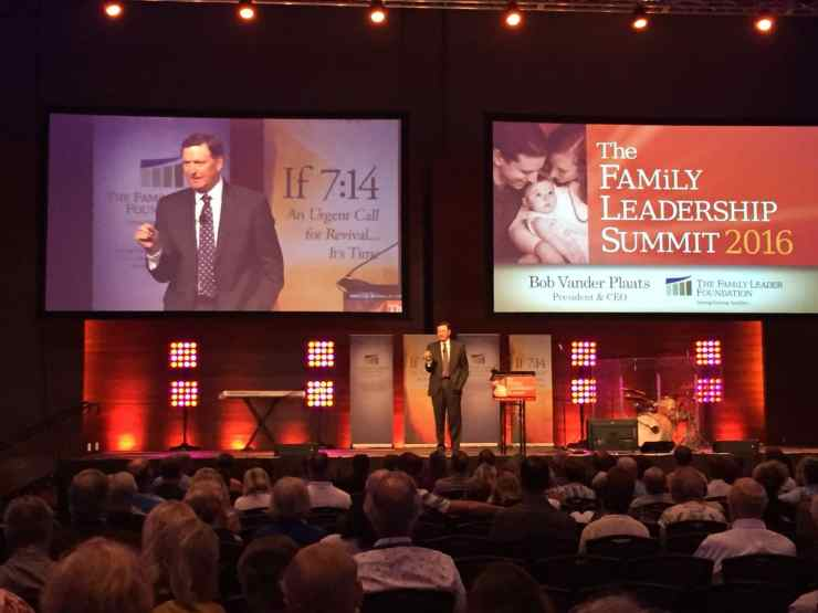 Bob Vander Plaats at the 2016 Family Leadership Summit on 7/9/16 in Des Moines, IA. Photo credit: Kelvey Vander Hart