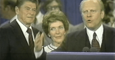 Ronald and Nancy Reagan with President Gerald Ford at the 1976 Republican National Convention