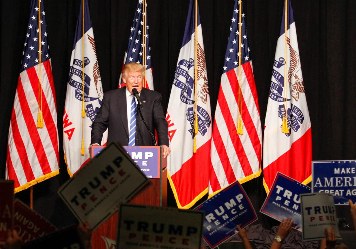 Donald Trump speaks at a rally in Cedar Rapids, IA on July 28, 2016. Photo credit: Max Goldberg, Iowa State Daily, cropped from original (CC-By-3.0)