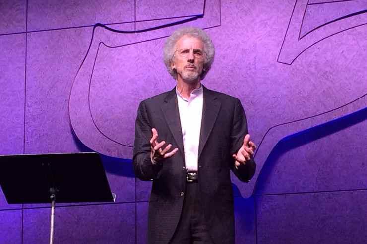 Phillip Yancey speaking at Maranatha Chapel in San Diego, CA in 2014.