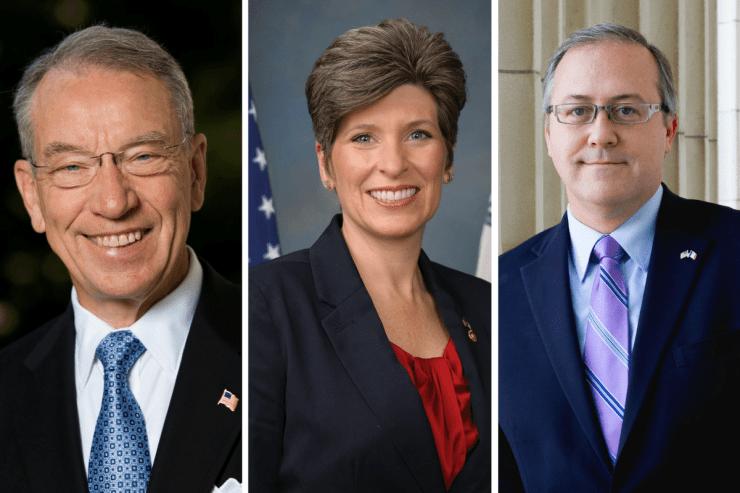 U.S. Senator Chuck Grassley (R-IA), U.S. Senator Joni Ernst (R-IA) and Congressman David Young (R-IA)