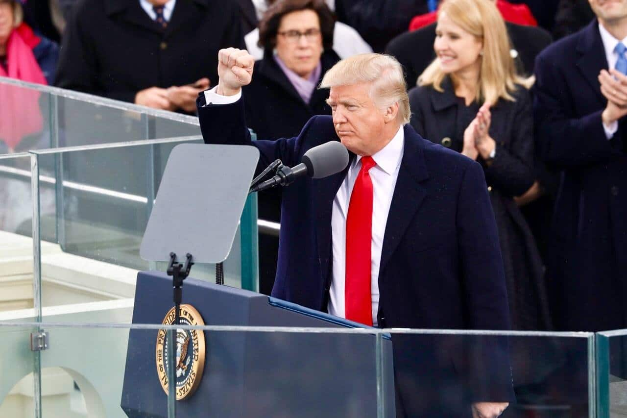 President Donald Trump gives his inaugural address on January 20, 2017.