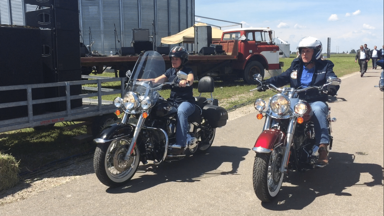 Vice President Mike Pence and U.S. Senator Joni Ernst (R-Iowa) ride Harleys into her 3rd Annual Roast and Ride.