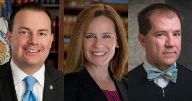 U.S. Senator Mike Lee (R-UT), Judge Amy Comey Barrett, and Texas Supreme Court Justice Don Willett