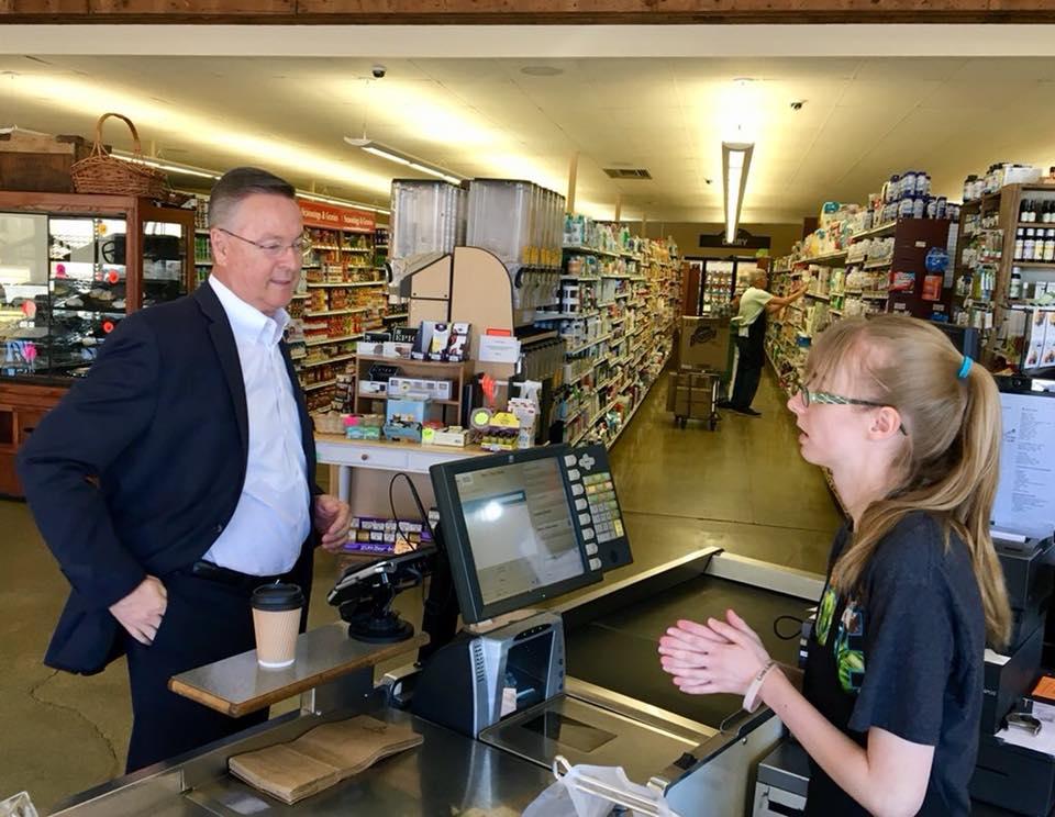 Congressman Rod Blum (R-Iowa) at McNally's Foods in Grinnell, Iowa.