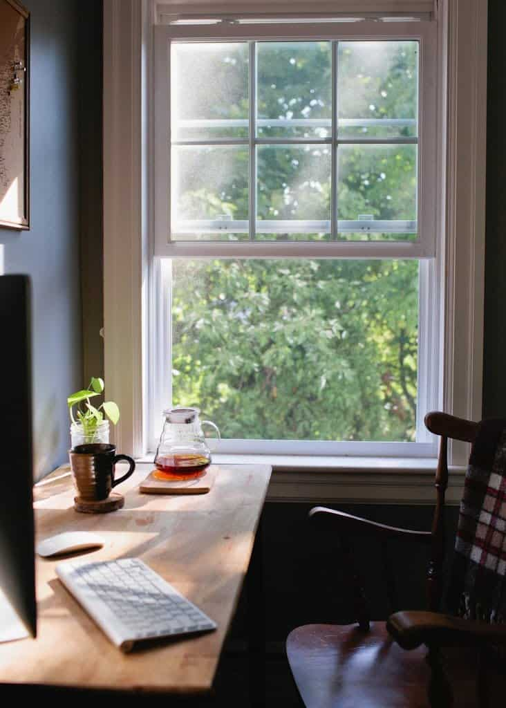 Work spaces with windows for fresh air