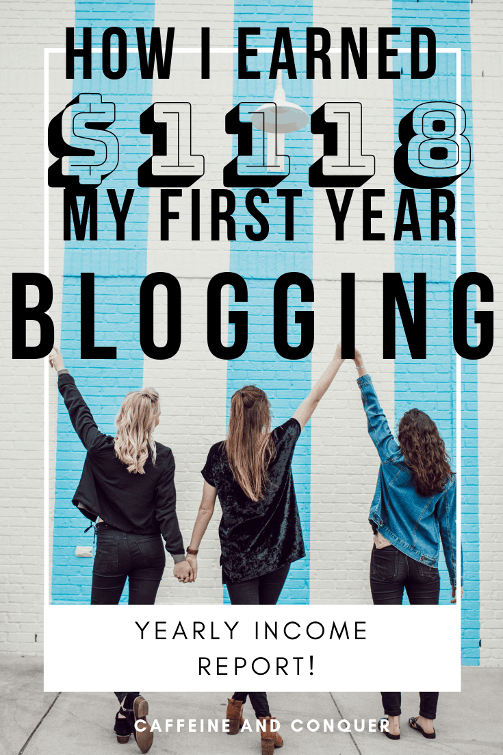 """A pinnable image of three woman holding their hands in the air in front of a blue and white brick wall. Text over: """"How I earned $1118 my first year blogging. Yearly income report. Caffeine and Conquer"""""""