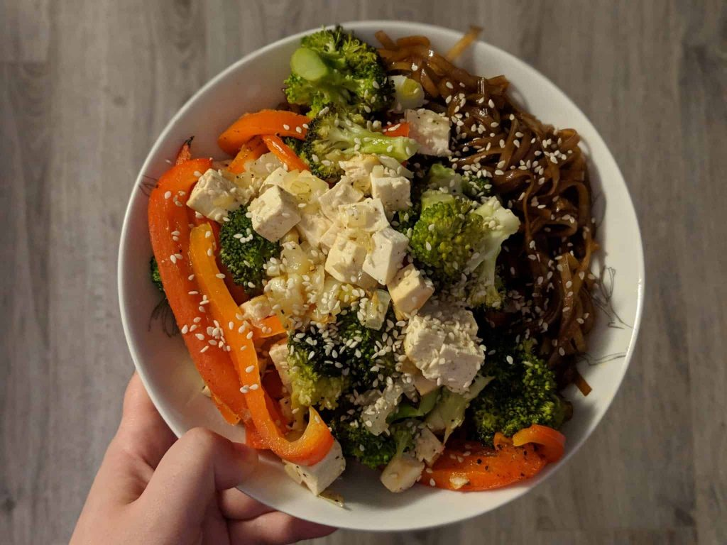 What I eat in a day: A bowl of roasted vegetables, tofu and rice noodles