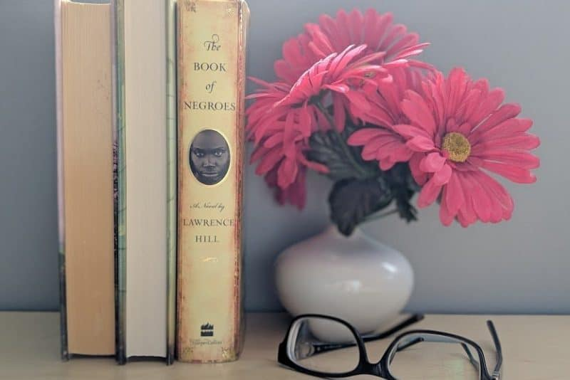 Three books, one with the spine showing The Book of Negroes by Lawrence Hill. On a desk with a vase of fake flowers and a pair of glasses.