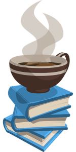 An illustration of a stack of three blue books with a coffee sitting on top.