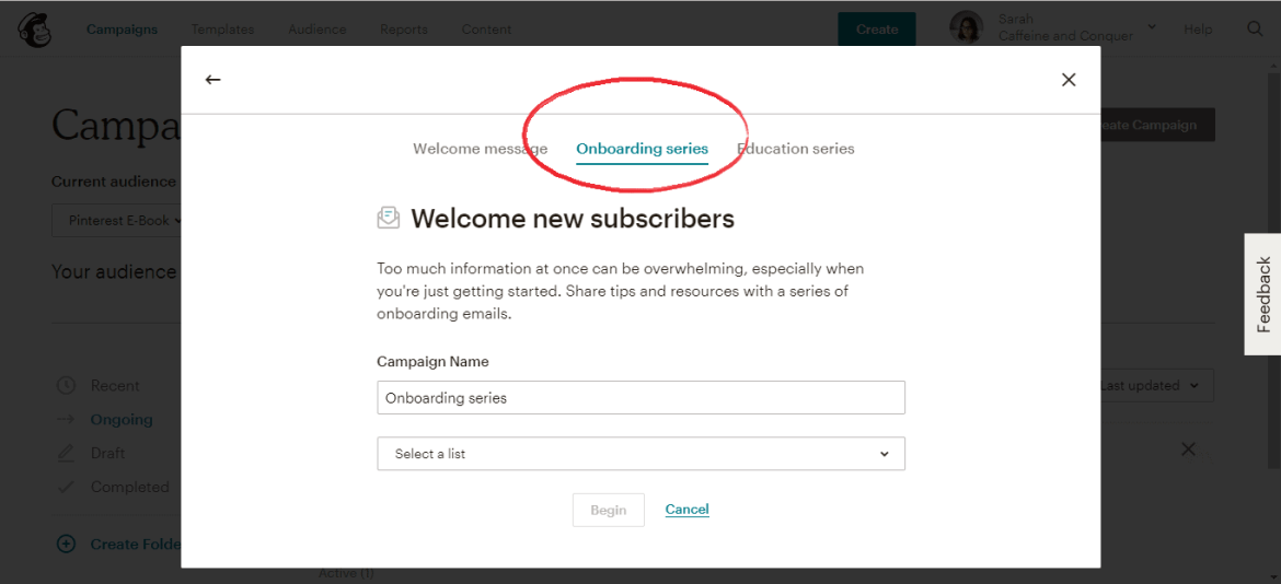 A screenshot of Mailchimp page onboarding series option