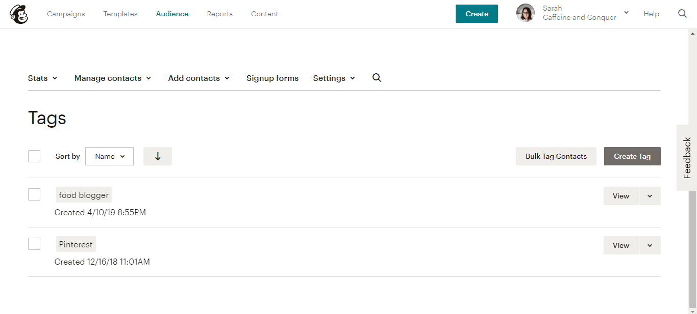 "A screenshot of Mailchimp ""Tags"" page"