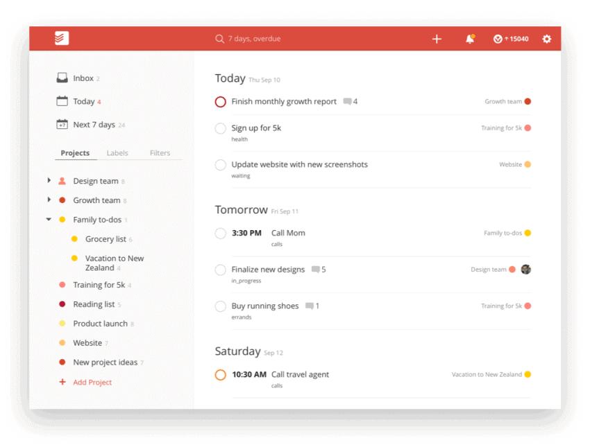 A screenshot of ToDoist's desktop app main page