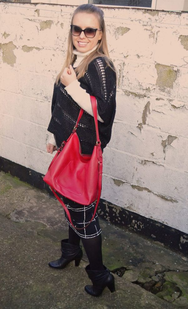clothing, outfit, bag, sweater, red, white, black, layers