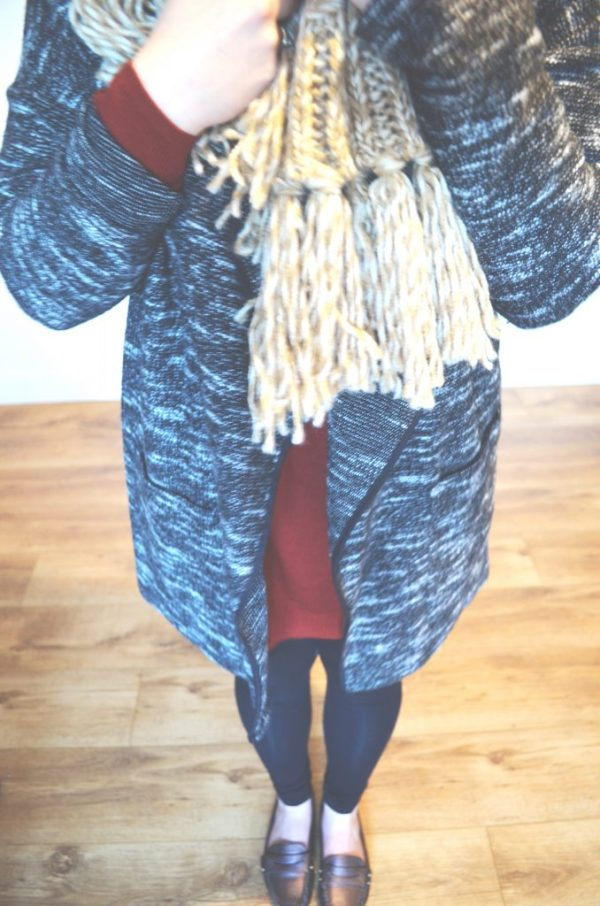 black jumper, leggings and scarf