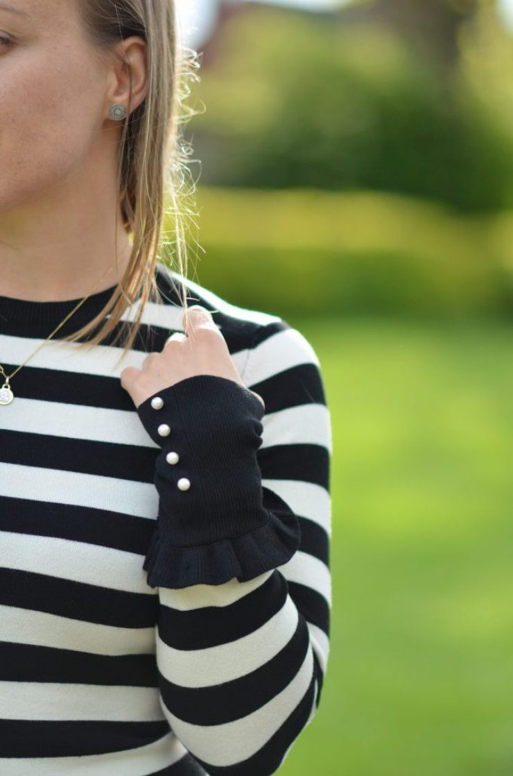 stripes and pearl details