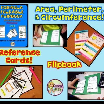 Area, Perimeter, and Circumference Formula Foldable Reference!