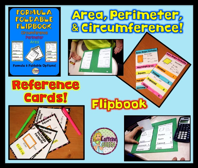 Geometry formula foldable reference - reference cards and flipbook