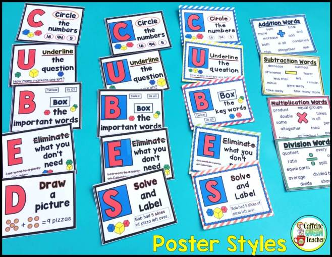 Math story problem solving strategy posters featuring CUBES