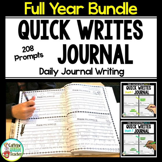 Full Year Bundle of Quick Writes Daily Journal Prompts
