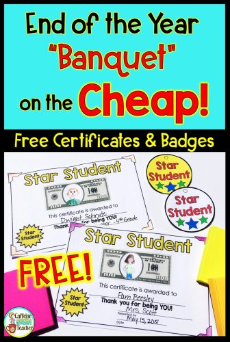 FREE certificates and badges for end of the school year student awards
