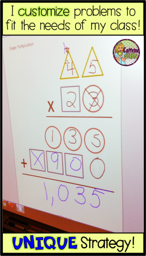 Best method for teaching students multi-digit multiplication uses visual organizers with shapes and colors