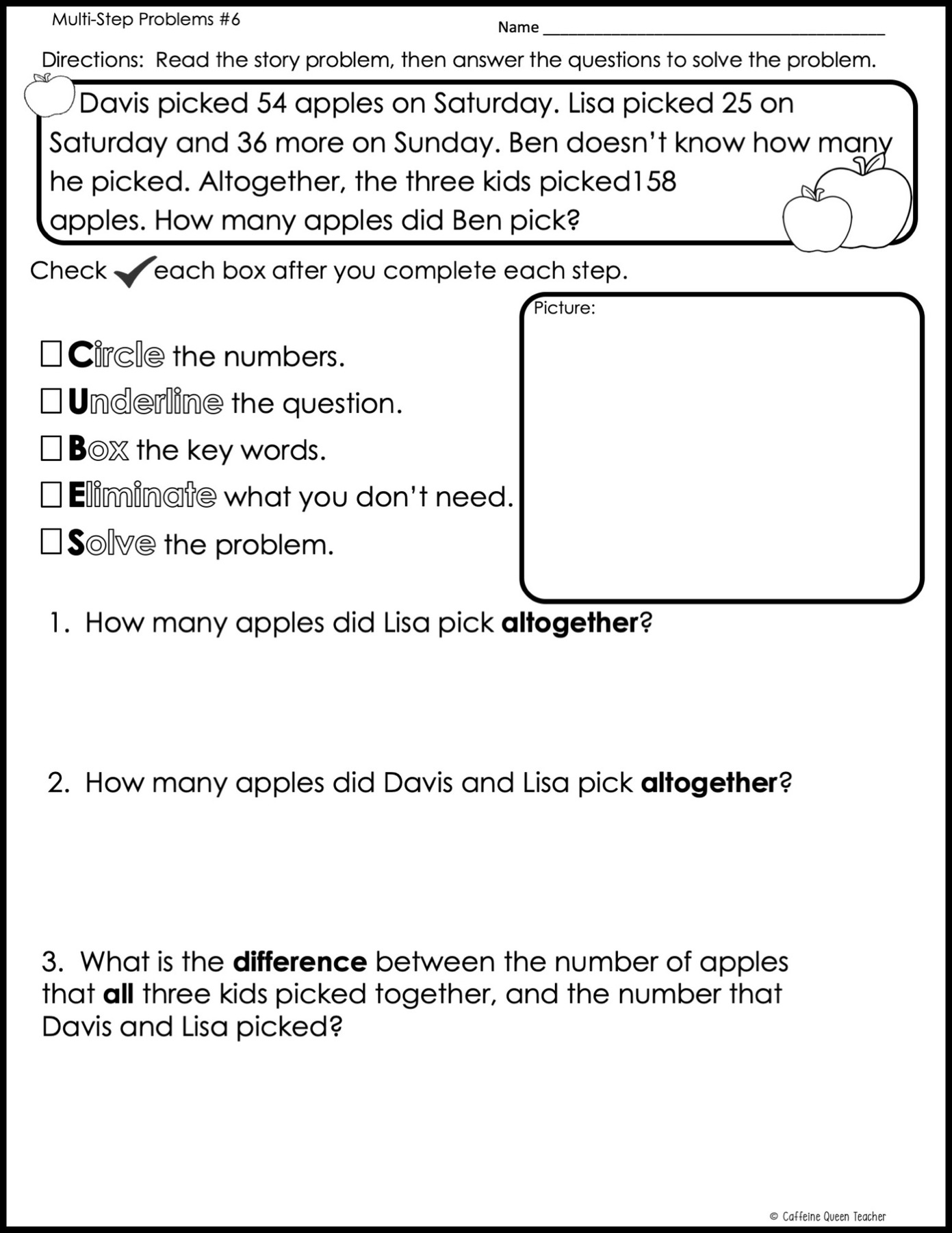 FREE Worksheet - Addition And Subtraction Word Problems Strategy - Caffeine  Queen Teacher
