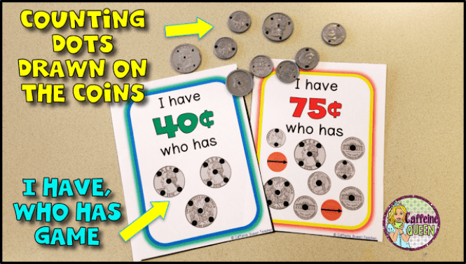 Coin counting dots to teach money skills