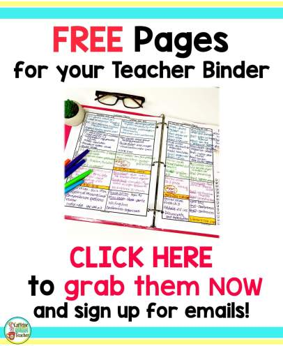Click the image for Free Teacher Binder pages