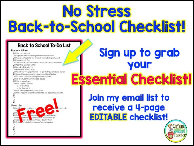 Download this FREE No Stress Back to School Checklist from Caffeine Queen Teacher