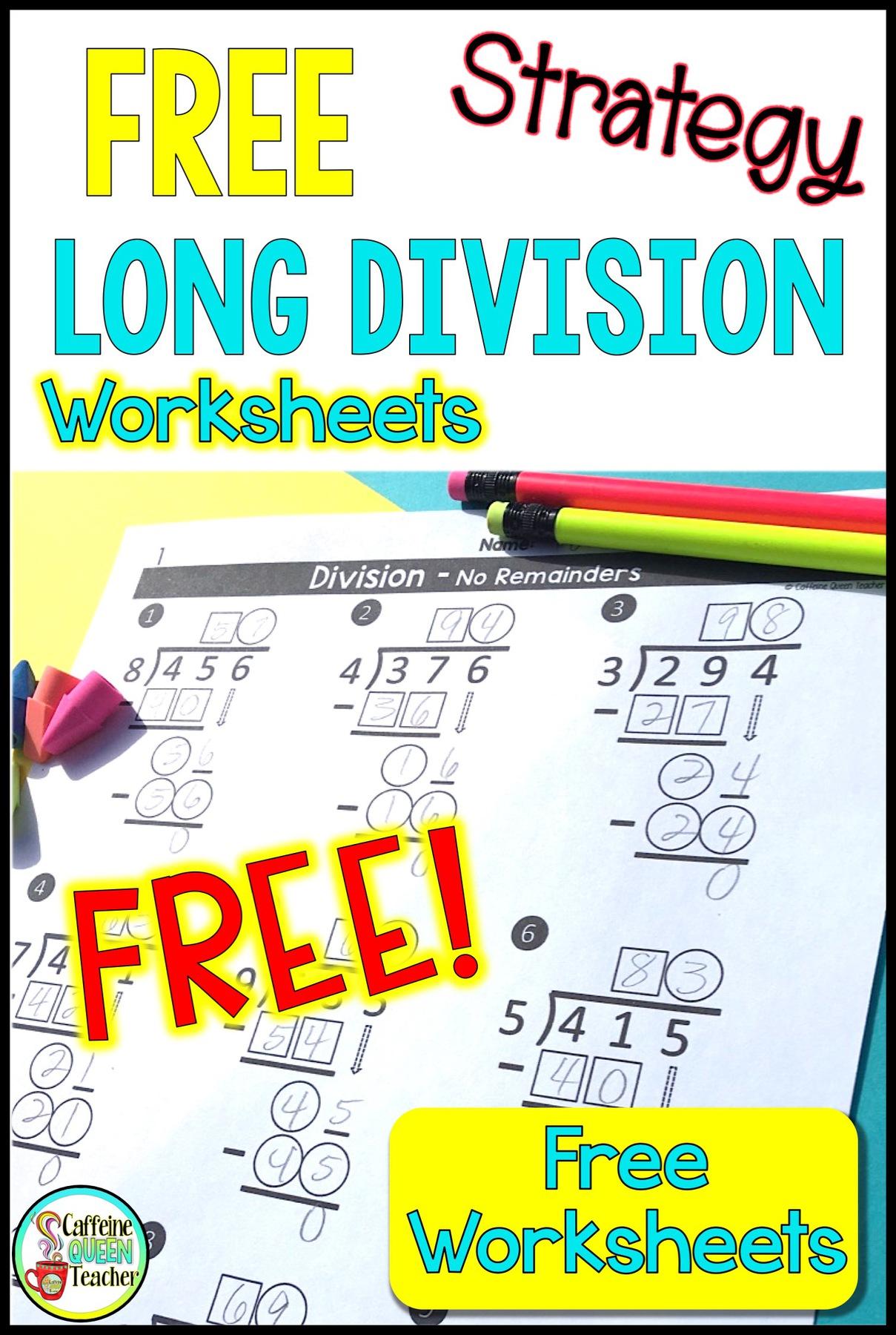 Long Division Free Worksheets Grade 6