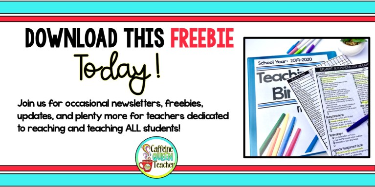 Sign up for FREE Teaching Organization Forms and our newsletter