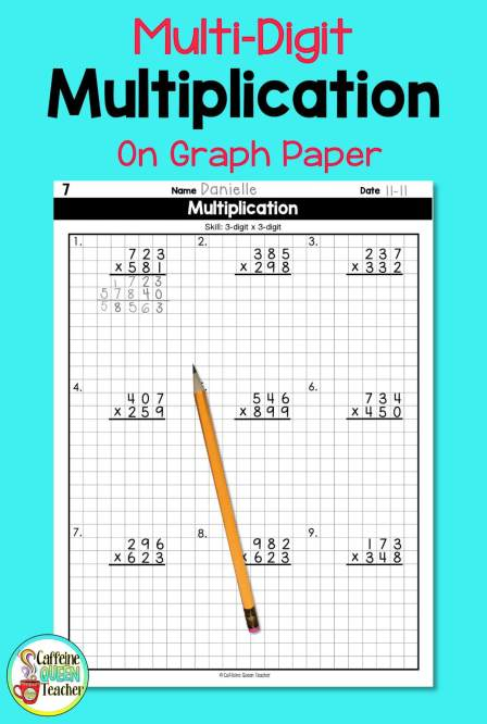 teaching multi-digit multiplication using graph paper for neatness