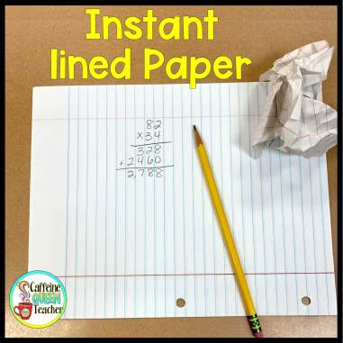 notebook paper turned sideways provides lines for students