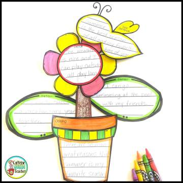 Flower writing activity for students as they learn to write paragraphs at the end of the year