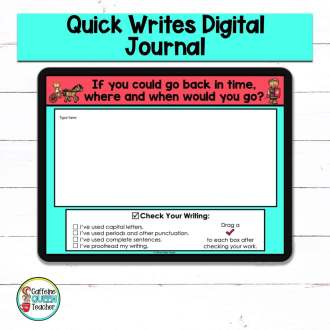 digital writing prompts with a writing checklist to encourage writing improvement