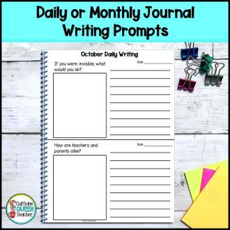 daily writing prompt page for students with 2 prompts per page