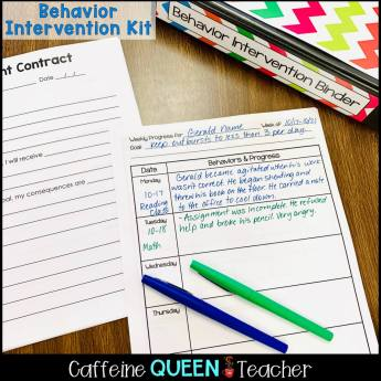 image of data collection page for behavior management intervention