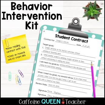 image of a student contract developed by a teacher to correct misbehavior
