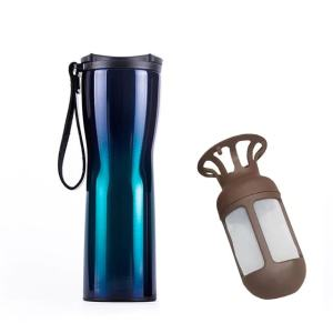 Travel Mug Coffee Tumbler Vacuum Bottle Touch Temperature Display Gray Gradient Blue