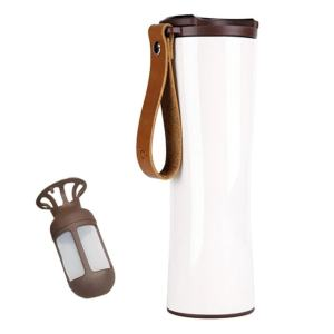 Travel Mug Coffee Tumbler Vacuum Bottle Touch Temperature Display Gray White